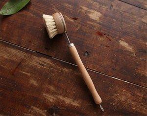 Natural Wooden Long Handle Pan Pot Brush Dish Bowl Washing Cleaning Brush Household Kitchen Cleaning Tools
