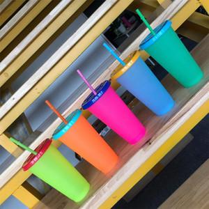 24 oz taza cambiante del color del caramelo Beber Vasos con tapas y pajas de agua botella mágica Café Cerveza Copa 08