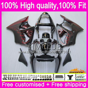 Injection 100%Fit For KAWASAKI ZX 600 CC 6 R ZX636 ZX6R 00 01 02 Red flames 58HM.2 ZX 636 ZX-6R ZX-636 ZX 6R 2000 2001 2002 OEM Fairings