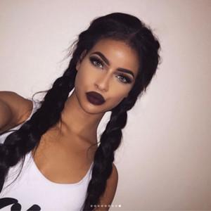 fibra química frontais mulheres peruca meio-mão gancho elegante preto cabelo grande tranças longas retas icterícia tranças osso de peixes