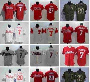 Personnalisé Hommes Femmes Enfants Jersey 7 chemises Phillies de Philadelphie Maikel Franco 27 Aaron Nola 20 Mike Schmidt Drapeau Fashion Baseball Jersey