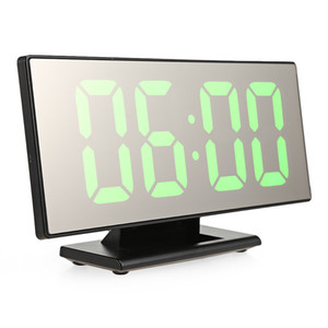Digital Mirror Surface Alarm Clock with Large LED Display USB Port for Bedroom with Calendars Temperature