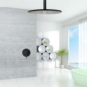 천장 마운트 황동 검은 목욕 샤워 세트 욕실 천장 비가 샤워 헤드 단일 방법 수도 믹서 수도꼭지 벽 정지