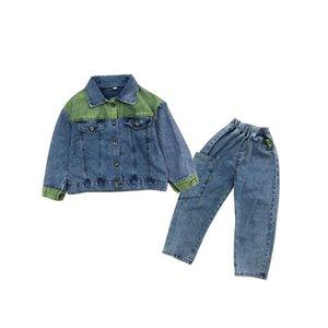 New arrived 2020 denim girls suits fashion kids outfits kids designer clothes girls jacket coat+Jeans trousers 2pcs set kids clothes B1086