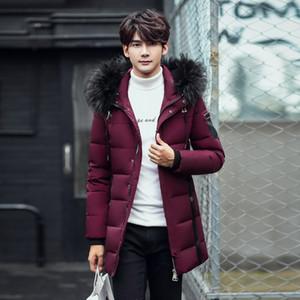 2018 nuovo lungo in grado di sopportare - 20 Degrees Giaccone Uomini Big reale collo di pelliccia con cappuccio anatra Down Jacket Big Size 3XL