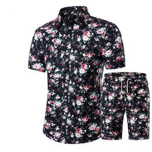 2019 Yeni Yaz Halk Stil Moda Çiçek Gömlek erkek Setleri Rahat Gömlek Kısa Kollu Üst Tatil Plaj t kısa + Şort 1620