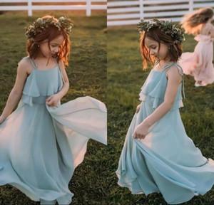 2019 Ucuz Bohemian Nane Çiçek Kız Elbise Spagetti Kat Uzunluk Basamaklı Ruffles Plaj Boho Düğün Kızlar Pageant Törenlerinde Giymek