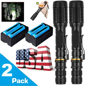 2x Super Bright 3800LM Taschenlampe Tactical Wiederaufladbare Cree XM-L T6 LED Fackel Zoomable 5 Modi + 18650 + Ladegerät