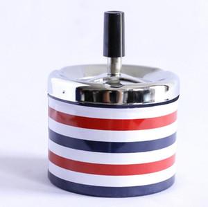 Metal creativo plástico redondo Cenicero prensa rotativa de la bandeja de ceniza portable de cenicero de metal con tapa del tamaño grande de cigarrillos titular 5 colores