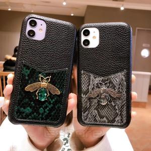 Capa de telefone de luxo Bee Slot titular para IPhone 11 11Pro X Xs Max Xr 8 8plus 7 7plus da pele de cobra padrão de capa de couro de alta qualidade Shell