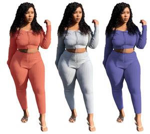 Женщины 2 шт топ набор сексуальный клуб костюм растениеводство брюки Sweatsuit футболки лосины наряды верхней одежды толстовки комбинезон падения зимней одежды 1714