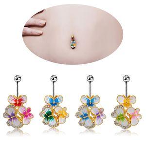 Ornamento umbilical Coreano Moda Borboleta Anel Umbilical Cristal Strass Umbigo Botão Combinação de Animais Umbigo Prego