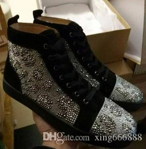New Fashion Style Red Bottom Sneaker For Men,Women Casual Walking Fashion Crystal Strass Men Luxurious Brand Dress Party Leisure With Box