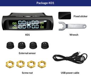 Control Car Tire Pressure Monitor do sistema automático do brilho Solar Power tela ajustável LCD sem fio 4 Tire