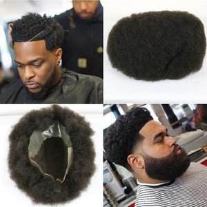 Lace Front back Pu Q6 Base Afro Curly Toupee Men's Wig 100% Human Hair Swiss Lace Toupee For Men