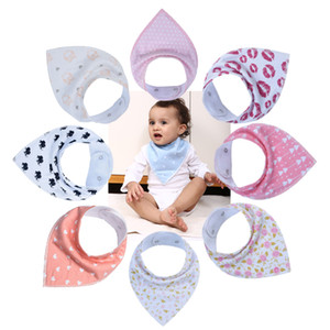 재사용 가능한 빨 수있는 아기 턱받이 면화 베이비 두건 멍청한 턱받이 버프 천으로 인쇄 화살표 웨이브 삼각형 조절 가능한 아기 식사 밴드 유아용 턱받이
