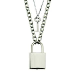 Collana della lega Hio Hop blocco gioielli e collana pendente di chiave Accessori Charm donne degli uomini di vendita caldi di blocco a catena