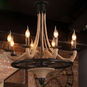 Loft colgante de luz industrial Edison Cuerda Hump Art Hanging Lighting Fixture American Countryside Hanglamp Coffee Bar Lámpara