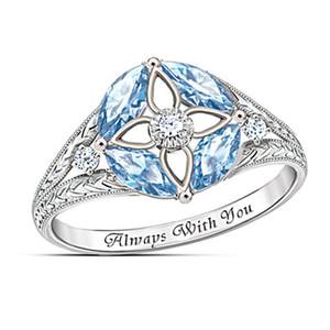 Simple Blue Sapphire ajourées à quatre feuilles Herbe Lady Ring, de haute qualité en cuivre plaqué argent Zircon Anneau