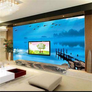Özel boyut 3d fotoğraf duvar kağıdı oturma odası yatak odası duvar Woodbridge Swan Lake Mavi 3d resim kanepe TV zemin duvar kağıdı dokunmamış sticker