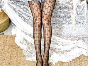 Großhandel Frauen Brief Silk Stockings GG Strumpfhosen Sexy Strümpfe Fashion Silk Socken Transparent Grid Socke Lange Stocking