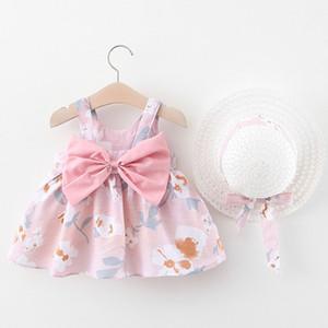 Patpat 2020 Nouveau printemps et en été adorable bébé Décor bowknot robes avec chapeau Set robes sans manches