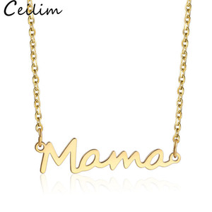 Stainless Steel Letter Mama Necklace Mothers Love Pendant Minimal Necklace Silver Gold Rose Gold Colors Jewelry Best for Moms Mother's Day