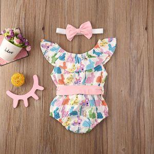 2020 Baby Summer Clothing Easter Infant Kids Baby Girls Bodysuits Rabbit Ruffles Elastic Waist Bowknot Jumpsuits+Headband 2pcs