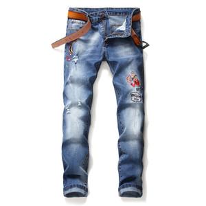 Più nuovi uomini ricamato Lobster diritte Patch Hole Stretch Jeans stile europeo ed americano della gioventù Slim pantaloni blu Skinny Denim Pantaloni