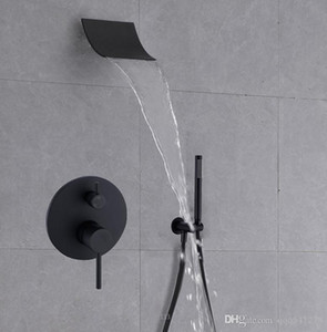 Brass Black Shower Set Bathroom Faucet Wall Mounted Rainfall Shower Head Diverter Mixer Handheld Spray Set