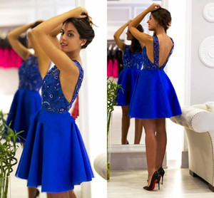 Abbastanza Royal Blue Pizzo A-Line Homecoming Dress Sexy Spaghetti Backless Short Cocktail Party Abiti Mini Prom Dash Gown BC2223