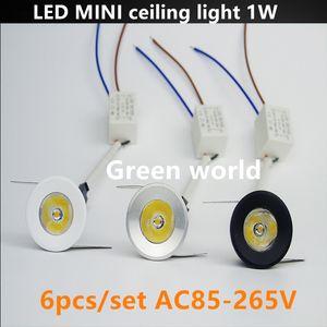 1 W Led Mini Luz de Teto branco / prata / tampa preta para Sala de estar Em Casa Recesso gabinete luz AC85-265V 6 pçs / set