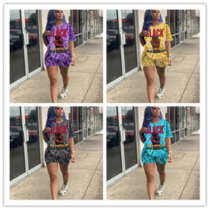 S-XXL Sommer-Frauen Tie-Dye Anzug Design T-Shirts + Shorts 2 Stück setzt Outfits Shorts Sleeve Sport Jogger Set Kleidung neuen D52504LY