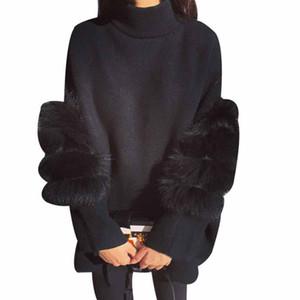 Frauen Maxi-Pelz-Strickjacke Winter-Truien Dames Fluffy Pullover Tunika Pullover mit Stehkragen Pull Femme Manche Longue 2020 Art und Weise Outwear