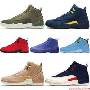 With 12 12s Men Basketball Shoes PSNY CP3 Class of 2003 Michigan Bulls Red University Blue College Navy Designer Trainer Sport Sneaker