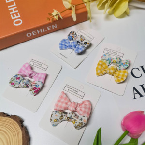 Children's floral baby's plaid bowknot sweet hair accessories and Children's floral baby's plaid hairpin bowknot sweet hairpin hair accessor