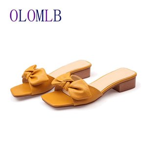 2020 New Summer Bow Knot Ladies Slippers Women Shoes Square High Heels Outside Fashion Slides Casual Shoes Woman L014