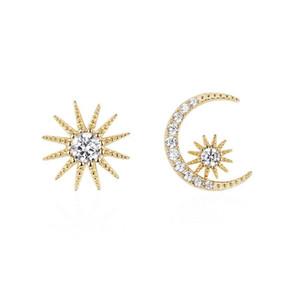 Pendientes del diseñador de moda de la estrella de la luna La asimetría del perno prisionero de oro de las mujeres S925 plata de la aguja de cristal de diamante pendientes regalo