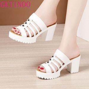 GKTINOO grossas sandálias de salto para mulheres Calçado New 2020 Platform Moda Verão Alta calcanhar aberto Toe Ladies chinelos de couro Shoes