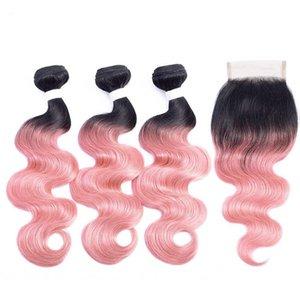Silanda cheveux ombre couleur coloré #t 1b / rose or cordot vague remy cheveux humains tissage tissage de cheveux avec fermeture de dentelle 4x4 Livraison gratuite