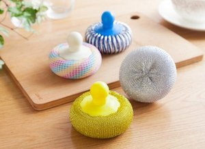 Do not hurt the pot new clean ball Colorful kitchen multi-function with handle dishwashing brush pot ball brush bowl artifact wholesale