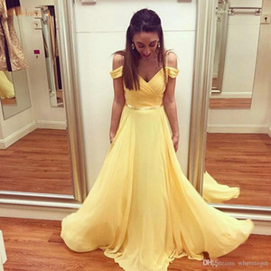 Yellow Boho Chiffon Long Prom Dresses with Sash Off Shoulder Sweep Train Formal Evening Party Gowns