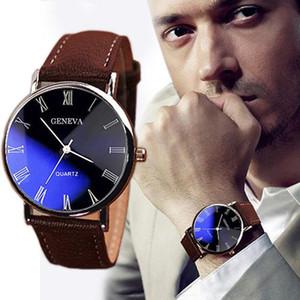 Мужчины Роман Числительные Blu-Ray Поддельный Кожаный ремешок кварцевые аналоговые наручные часы бизнес