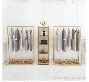 Perchero para los bastidores de ropa dormitorio aterrizaje gancho de ropa en tiendas de ropa zapatero de hierro dorado Sombrero marco multifuncional