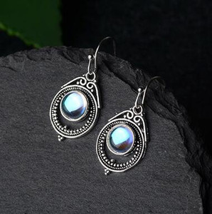 Hand made vintage Moonstone earrings; European beauty ear pendant ear jewelry; Copper plated silver inlaid zirconium pendant