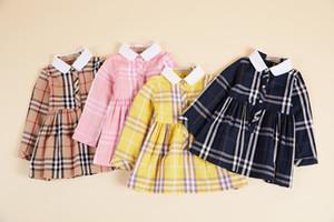 الفتيات فساتين 2019 الخريف أطفال جديدة منقوشة طية صدر السترة طويلة الأكمام مطوي فستان مصمم ملابس الاطفال القطن chilren فستان الأميرة F8693