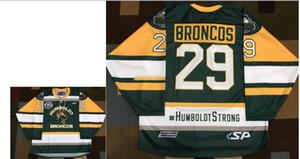 Gerçek Erkekler gerçek Tam nakış # 29 Humboldt Broncos YEŞİL Broncos #humboldtstrong hokey Jersey veya özel herhangi bir ad veya numara HOKEY Jersey