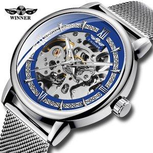 Mens Band GANADOR alta calidad de los hombres reloj mecánico esquelético Delgado analógico Acoplamiento de acero reloj para los hombres de negocios Dropshipping