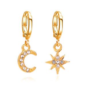 Charm Kadınlar Kız için Bohemian Kristal Ay Yıldız Stud Küpe Kulak Stud Yuvarlak Küpe Takı