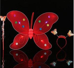 Yeni çocuk performans sahne tek katmanlı aydınlık kelebek kanatları sihirli değnek saç çember üç takım WL198